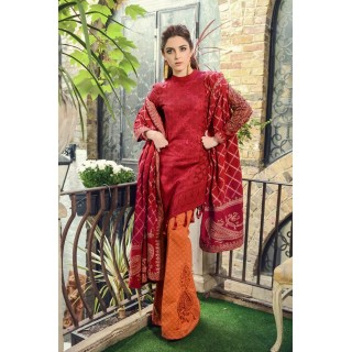 MARIA B Linen Collection 2017 -DL-506-Maroon