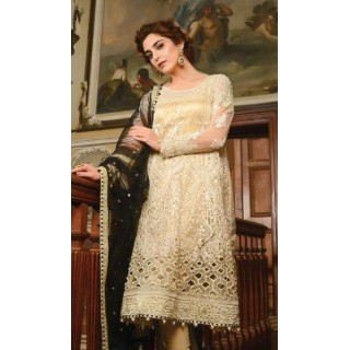 MARIA B Mbroidered -The Wedding Edition - 2017 - Cream and Black -BD-1201