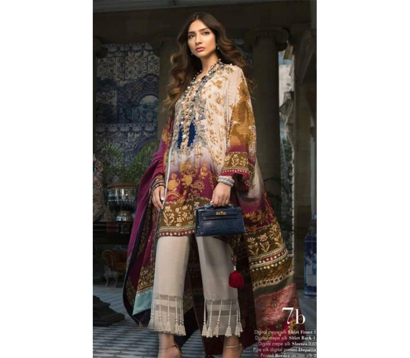 3a37cf6734 SANA SAFINAZ Silk Chiffon Unstitched Collection-2018- Design-07B
