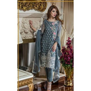 MK Embroidered Chiffon Collection by TRADITIONS- 2017- Design - 06